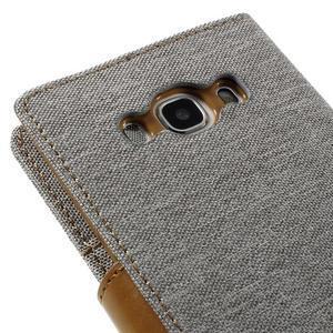 Canvas PU kožené/textilní pouzdro na Samsung Galaxy J5 (2016) - šedé - 5