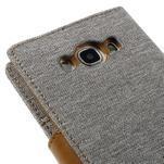 Canvas PU kožené/textilní pouzdro na Samsung Galaxy J5 (2016) - šedé - 5/7