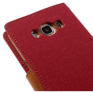 Canvas PU kožené/textilní pouzdro na Samsung Galaxy J5 (2016) - červené - 5