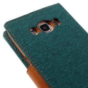 Canvas PU kožené/textilní pouzdro na Samsung Galaxy J5 (2016) - zelenomodré - 5