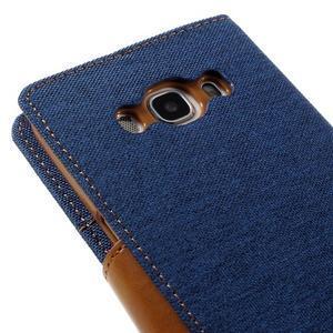 Canvas PU kožené/textilní pouzdro na Samsung Galaxy J5 (2016) - modré - 5