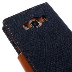 Canvas PU kožené/textilní pouzdro na Samsung Galaxy J5 (2016) - tmavěmodré - 5