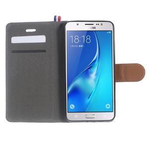 Denim peněženkové pouzdro na Samsung Galaxy J5 (2016) - šedé - 5