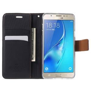 Gentle PU kožené peněženkové pouzdro na Samsung Galaxy J5 (2016) - černé - 5