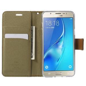 Gentle PU kožené peněženkové pouzdro na Samsung Galaxy J5 (2016) - khaki - 5