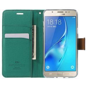 Gentle PU kožené peněženkové pouzdro na Samsung Galaxy J5 (2016) - zelenomodré - 5