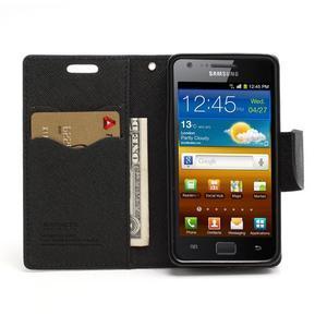Diary PU kožené pouzdro na mobil Samsung Galaxy S2 - černé - 5