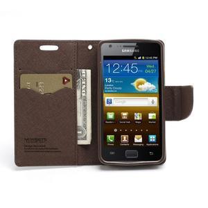 Diary PU kožené pouzdro na mobil Samsung Galaxy S2 - černé/hnědé - 5