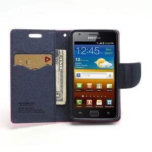 Diary PU kožené pouzdro na mobil Samsung Galaxy S2 - rose - 5