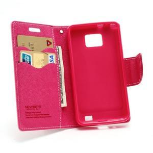 Diary PU kožené pouzdro na mobil Samsung Galaxy S2 - růžové - 5