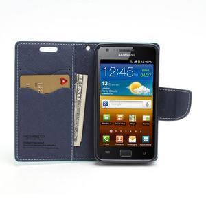 Diary PU kožené pouzdro na mobil Samsung Galaxy S2 - azurové - 5