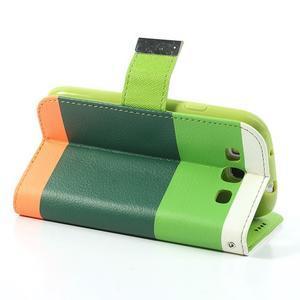 Tricolors PU kožené pouzdro na mobil Samsung Galaxy S3 - tmavězelený střed - 5