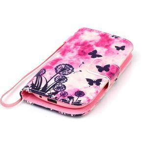 Knížkové PU kožené pouzdro na Samsung Galaxy S3 mini - motýlci - 5