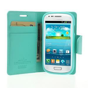 Diary PU kožené pouzdro na Samsung Galaxy S3 mini - azurové - 5