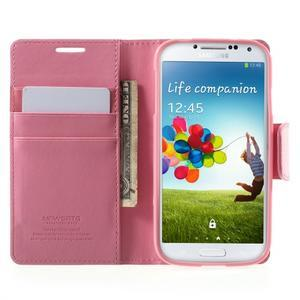 Diary PU kožené pouzdro na mobil Samsung Galaxy S4 - růžové - 5