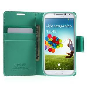 Diary PU kožené pouzdro na mobil Samsung Galaxy S4 - azurové - 5