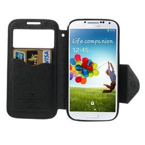 Okýnkové peněženkové pouzdro na mobil Samsung Galaxy S4 - černé - 5