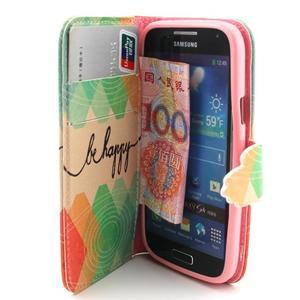 Diaryleather pouzdro na mobil Samsung Galaxy S4 mini - be happy - 5