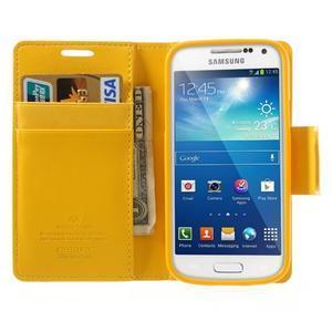 Sonata PU kožené pouzdro na mobil Samsung Galaxy S4 mini - žluté - 5