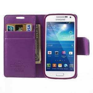 Sonata PU kožené pouzdro na mobil Samsung Galaxy S4 mini - fialové - 5