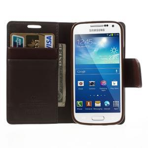 Sonata PU kožené pouzdro na mobil Samsung Galaxy S4 mini - hnědé - 5