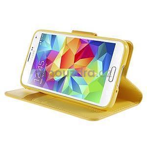 Elegantní peněženkové pouzdro na Samsung Galaxy S5 - žluté - 5