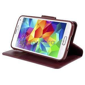 Elegantní peněženkové pouzdro na Samsung Galaxy S5 - vínové - 5
