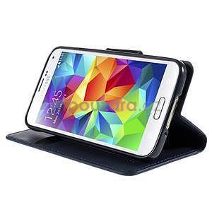 Elegantní peněženkové pouzdro na Samsung Galaxy S5 - tmavěmodré - 5
