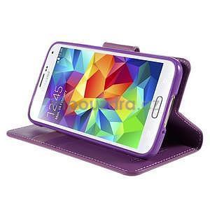 Elegantní peněženkové pouzdro na Samsung Galaxy S5 - fialové - 5