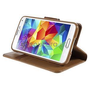Elegantní peněženkové pouzdro na Samsung Galaxy S5 - hnědé - 5