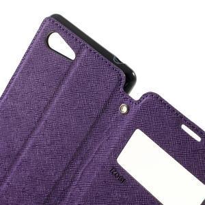 Peněženkové pouzdro s okýnkem na Sony Xperia E3 - fialové - 5