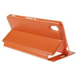 Okýnkové PU kožené pouzdro na Sony Xperia M4 Aqua - oranžové - 5