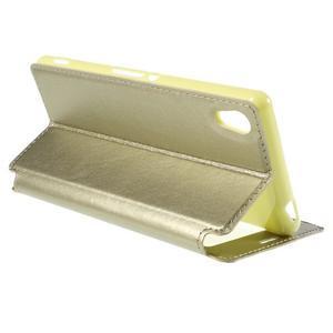 Okýnkové PU kožené pouzdro na Sony Xperia M4 Aqua - zlaté - 5