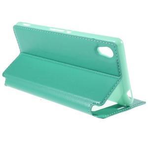 Okýnkové PU kožené pouzdro na Sony Xperia M4 Aqua - azurové - 5