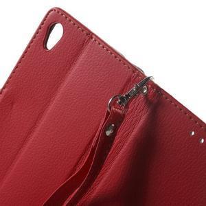Leaf PU kožené pouzdro na mobil Sony Xperia M4 Aqua - červené - 5