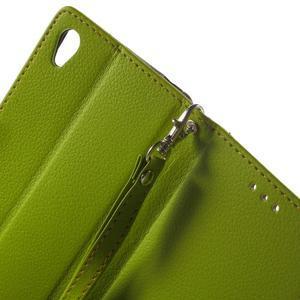 Leaf PU kožené pouzdro na mobil Sony Xperia M4 Aqua - zelené - 5
