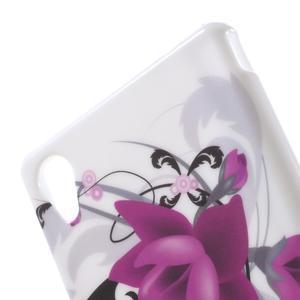 Emotive gelový obal na Sony Xperia M4 Aqua - fialový květ - 5