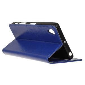 Horse PU kožené pouzdro na Sony Xperia X - modré - 5