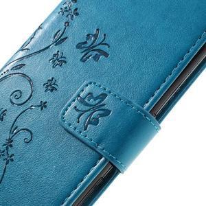 Butterfly PU kožené pouzdro na Sony Xperia X - modré - 5