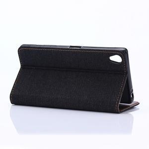 Jeans peněženkové pouzdro na Sony Xperia X - černomodré - 5