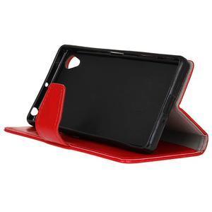 Knížkové PU kožené pouzdro na Sony Xperia X - červené - 5