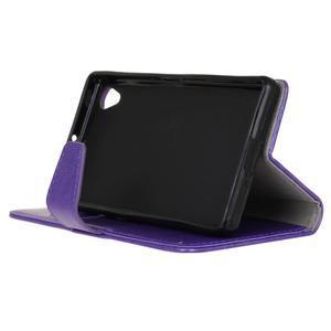 Knížkové PU kožené pouzdro na Sony Xperia X - fialové - 5