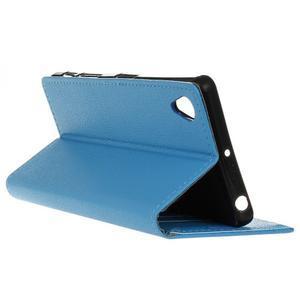Grain koženkové pouzdro na Sony Xperia X - modré - 5