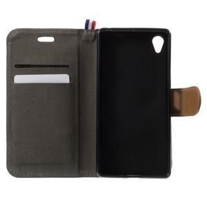 Denim textilní/koženkové pouzdro na Sony Xperia XA - černé - 5