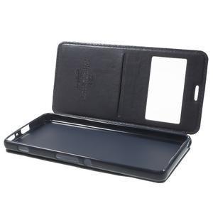 Royal PU kožené pouzdro s okýnkem na Sony Xperia XA - tmavěmodré - 5
