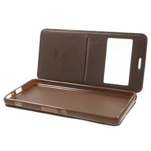 Royal PU kožené pouzdro s okýnkem na Sony Xperia XA - hnědé - 5