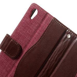 Jeansy PU kožené/textilní pouzdro na Sony Xperia XA - rose - 5