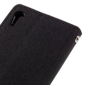 Canvas PU kožené/textilní pouzdro na mobil Sony Xperia XA - černé - 5