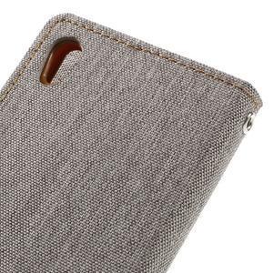 Canvas PU kožené/textilní pouzdro na mobil Sony Xperia XA - šedé - 5