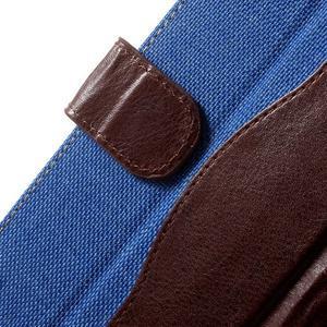 Jeansy PU kožené/textilní pouzdro na Sony Xperia XA - modré - 5